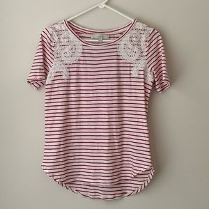 ANN TAYLOR LOFT Red Stripe Lace Overlay Tee Top XS